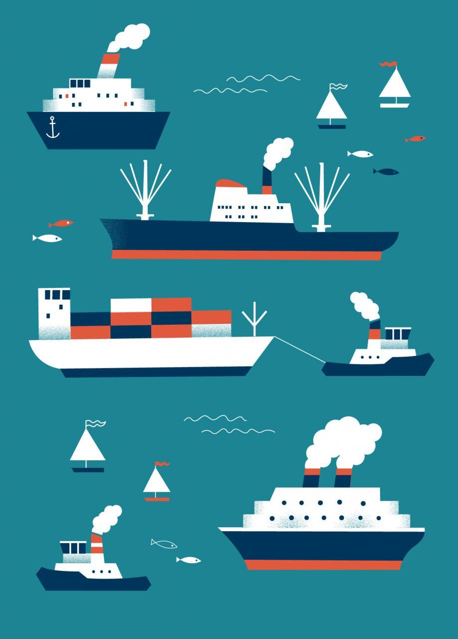 Schiffe Petrol Postkarte