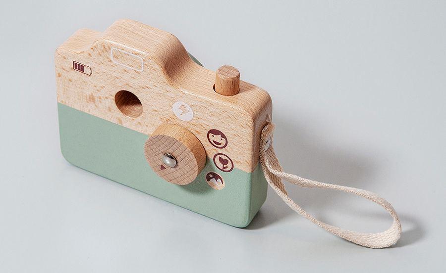 Holz-Kamera Blau