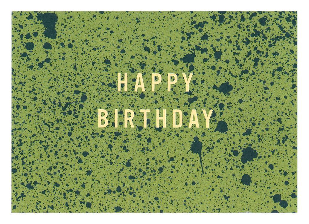 Happy Birthday Sprenkel Grün Postkarte
