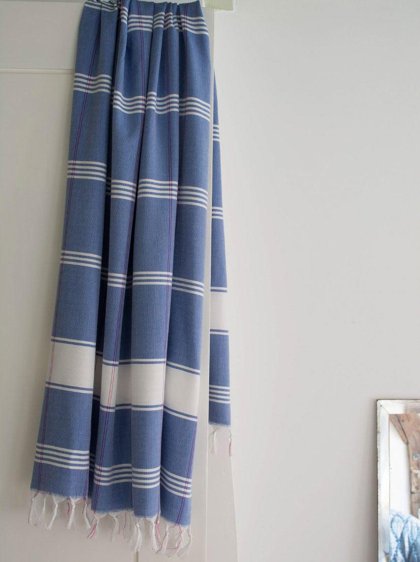 Hamamtuch (Bio Baumwolle) Greek Blue White