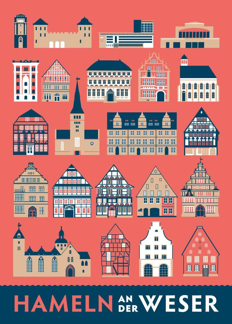 Hameln an der Weser Stadthäuser Postkarte