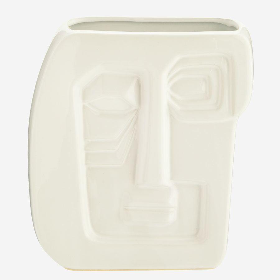 Vase mit Gesicht Weiss #2