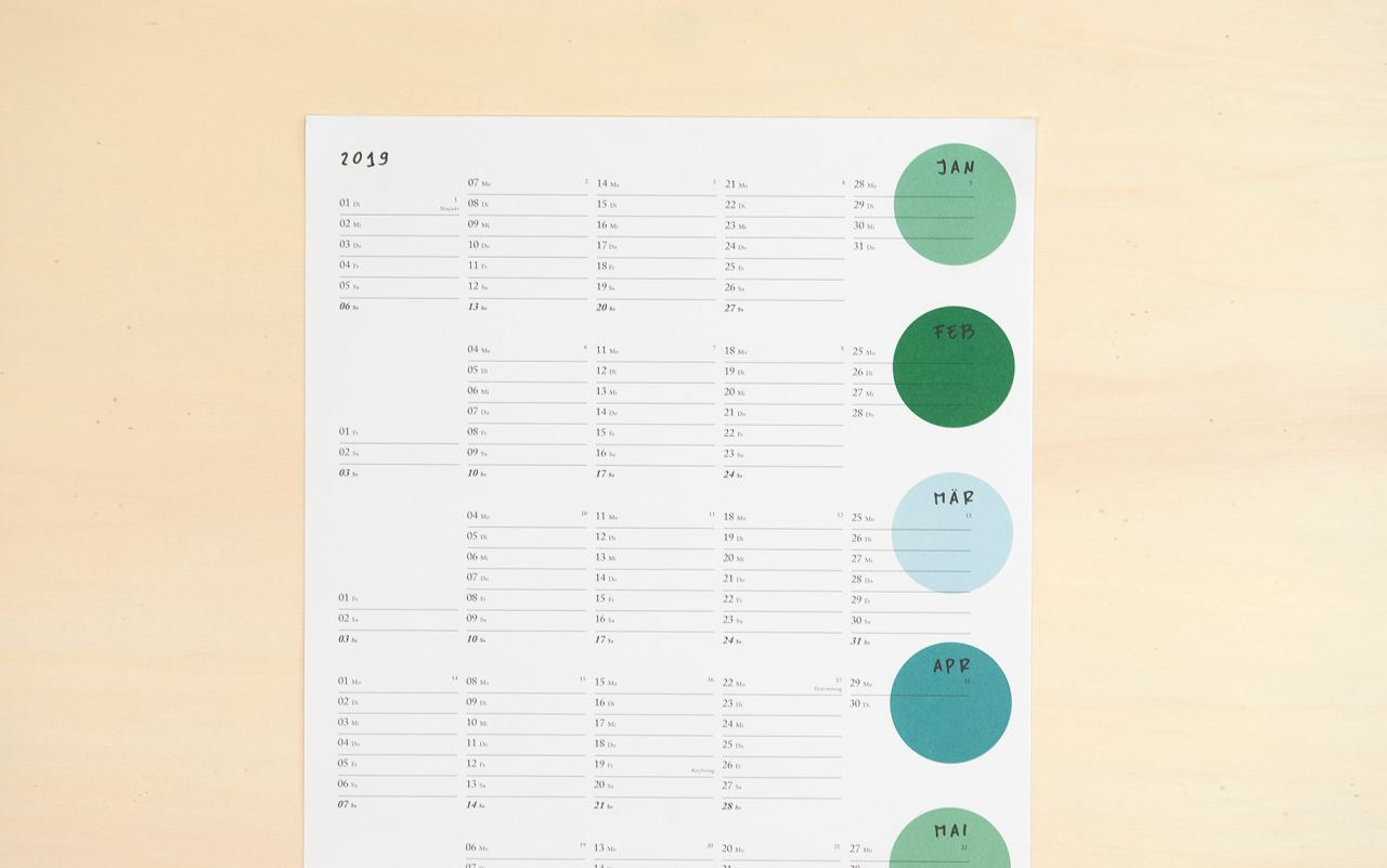 Green Dots Kalender 2019