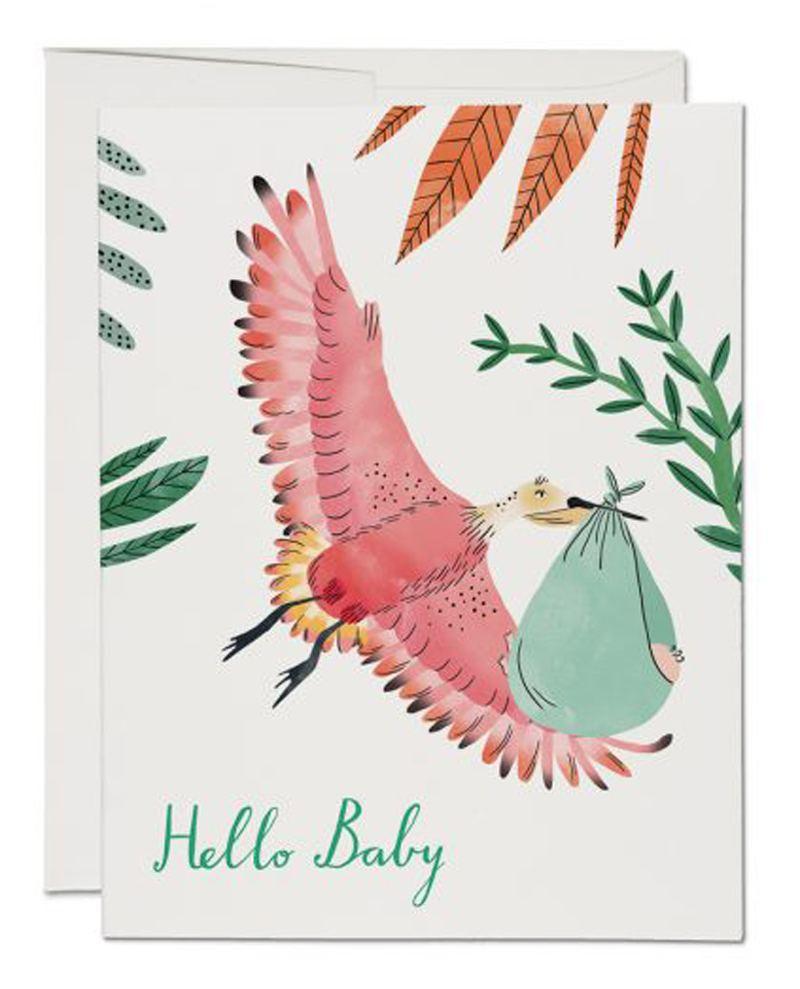 Bird with Baby Suit Klappkarte