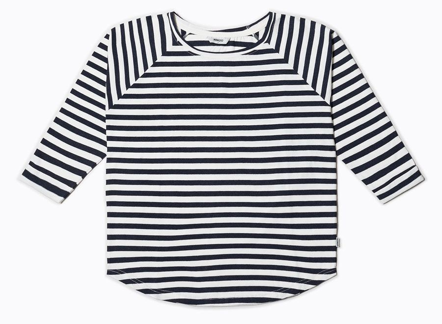 Shane Stripe Navy Blue Melange-Off White