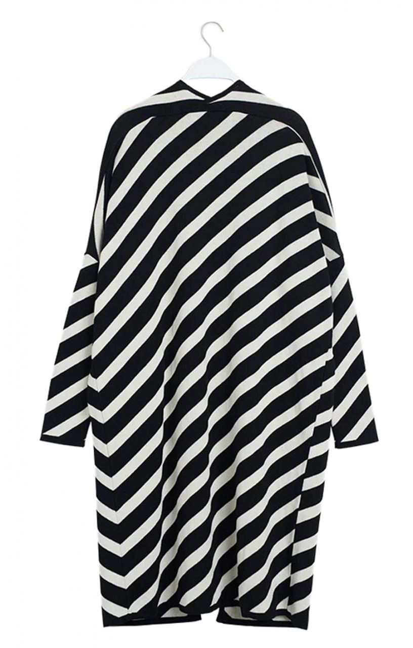 Puffy Stripe Cardigan Black White Sand