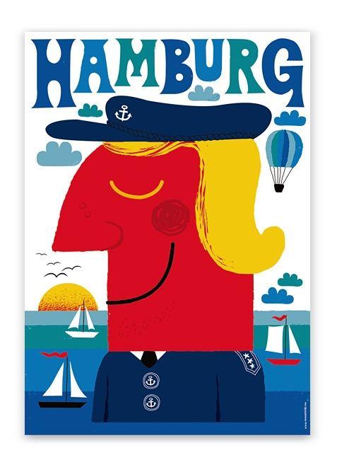 Blaues Hamburg Poster (50 x 70 cm)