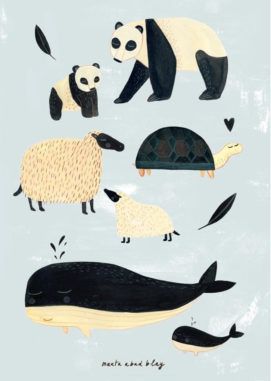 Animals Grey Poster (50 x 70 cm)