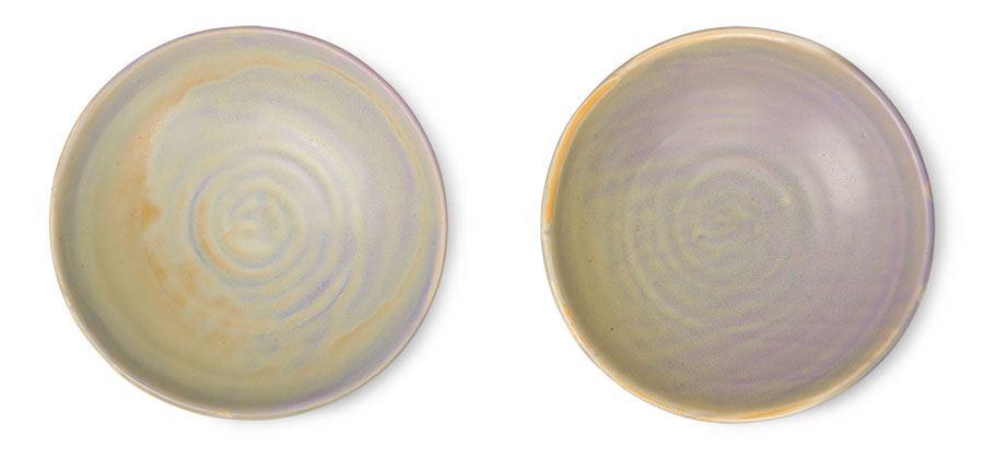 Home Chiefs Ceramics: Flat Bowl Purple Green