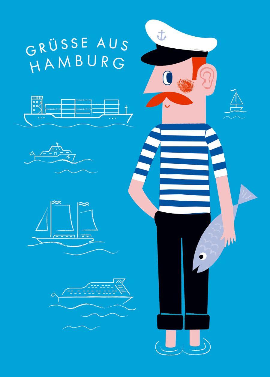 Hamburg Jörn Grüsse Hellblau Postkarte