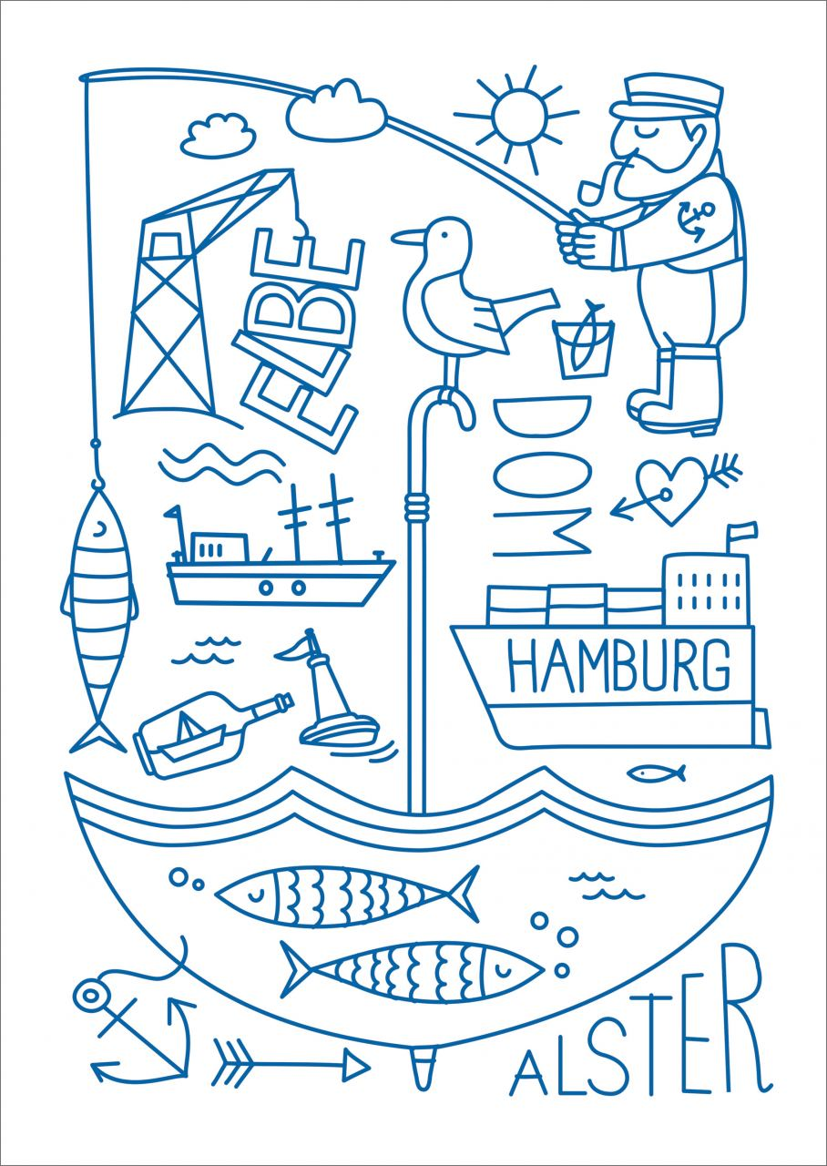 Hamburg Elbe Alster Postkarte