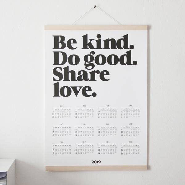 Be Kind Wandkalender 2019
