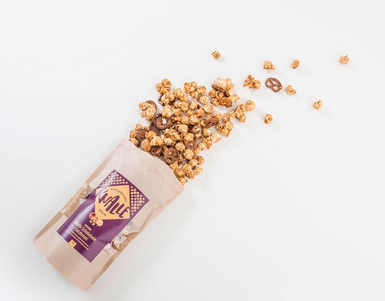 Popcorn Weiße Schokolade-Salzbrezel