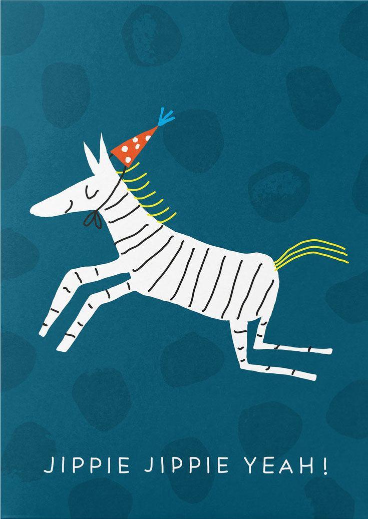 Fröhliches Zebra Postkarte