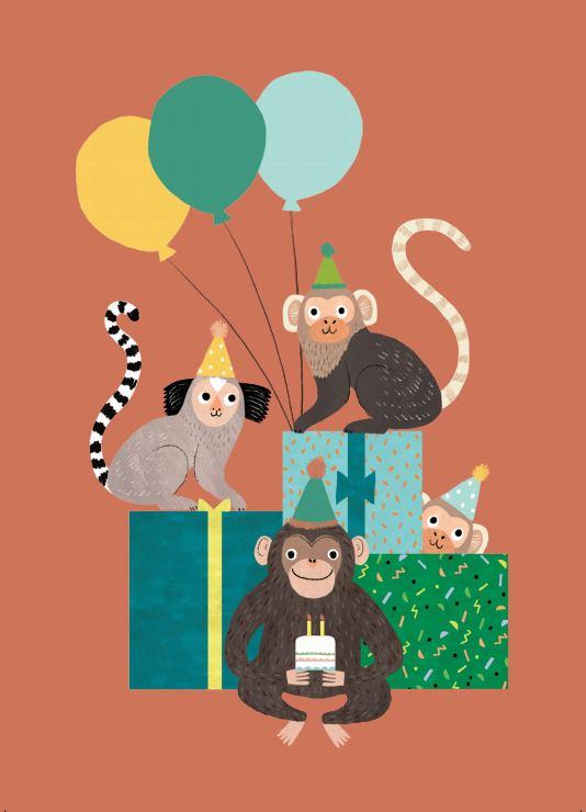 Monkey Bunch Postkarte