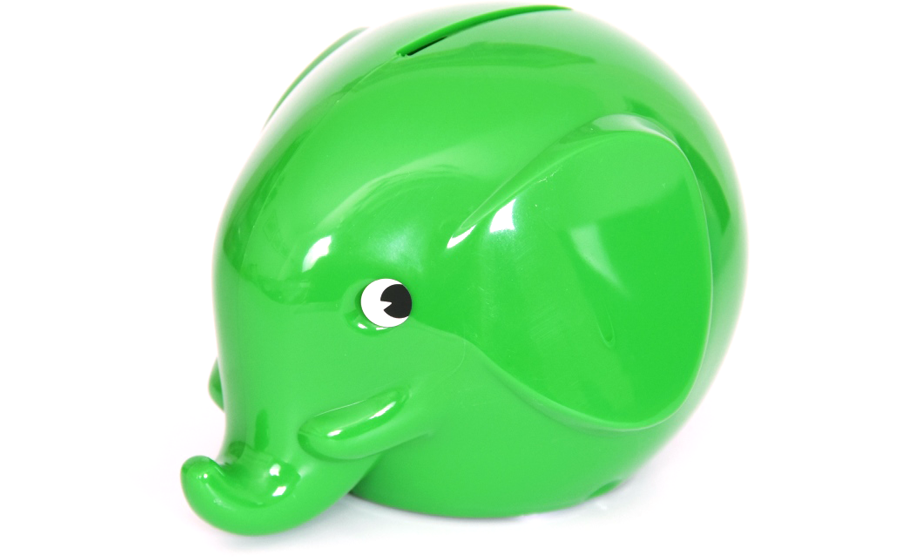 Elefanten Spardose Green