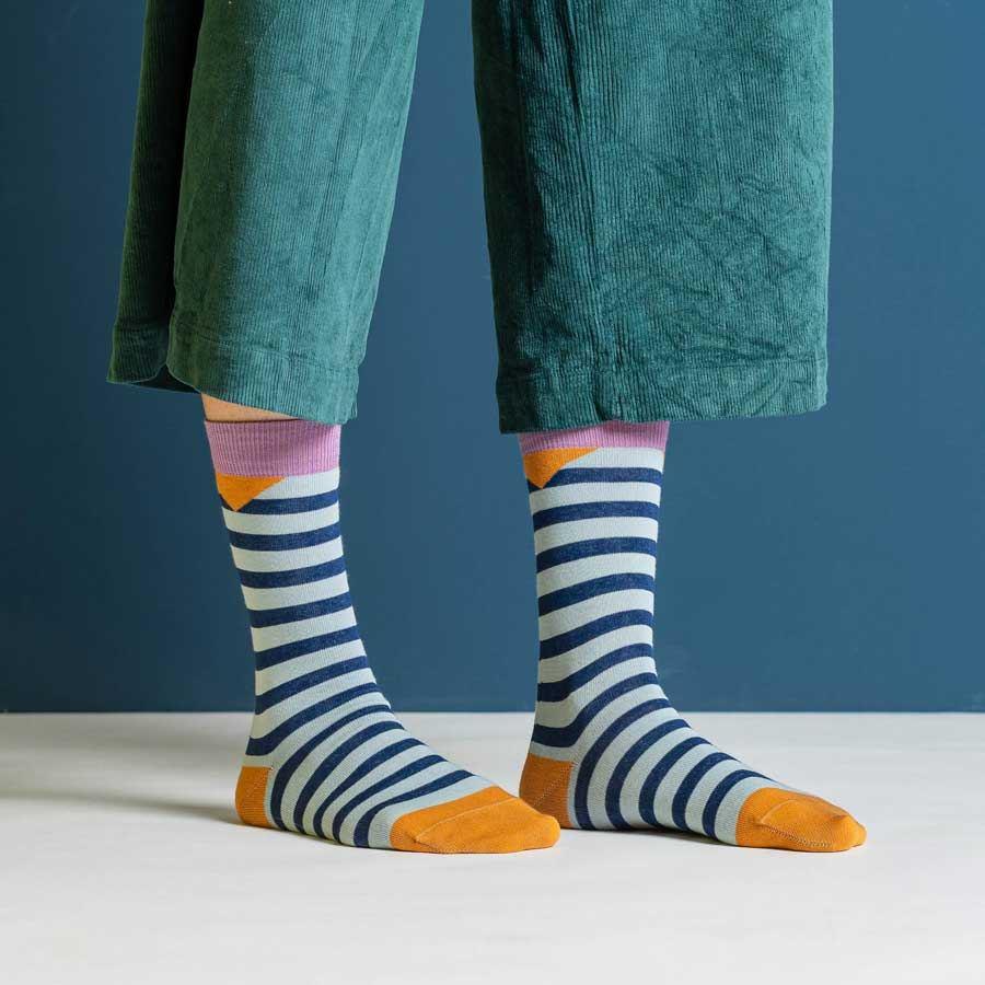 Nice Socks Block Stripes Petrol