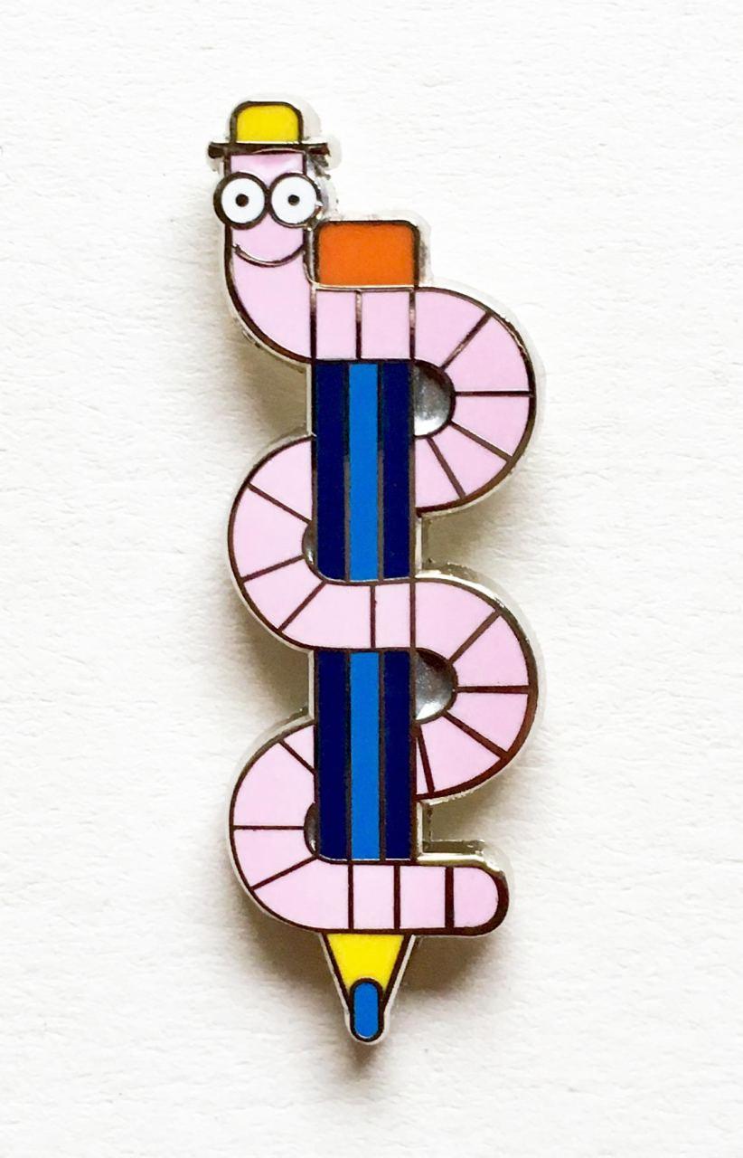 Worm Pen Enamel Pin