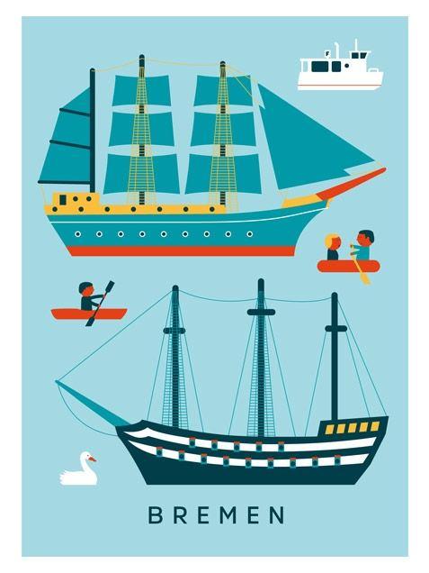 Bremen Schiffe Postkarte