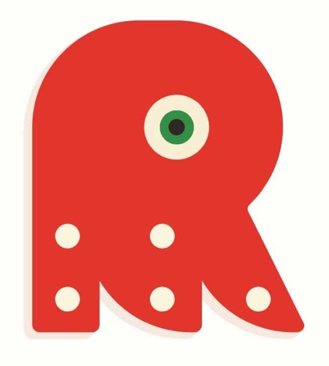 Tierbuchstabe R Rot