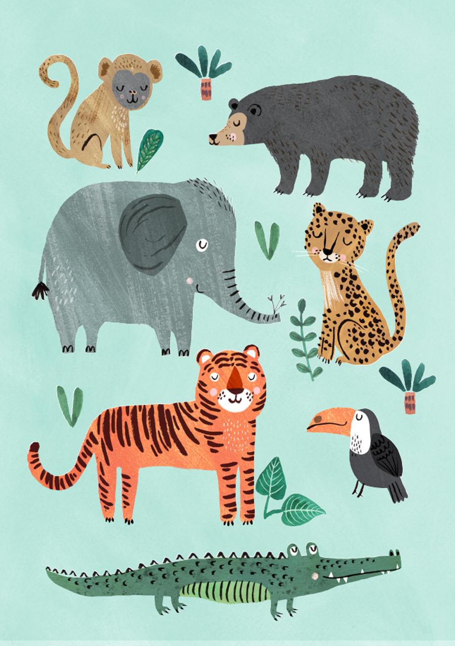 Wild Animals Poster (50x70cm)