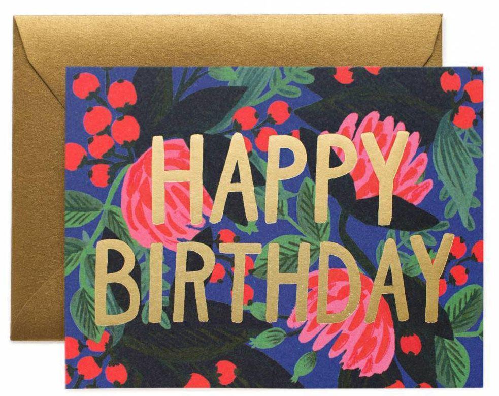 Floral Foil Birthday Klappkarte