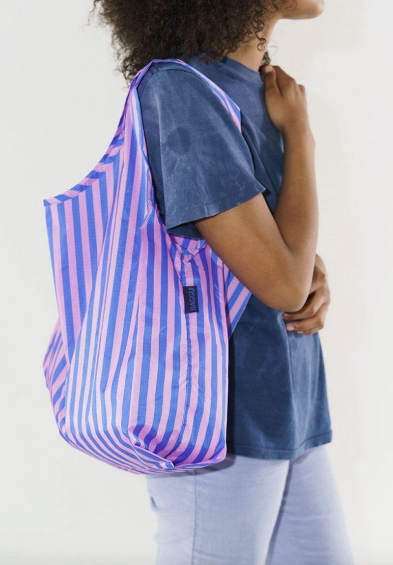 Einkaufsbeutel Stripe Pink and Blue