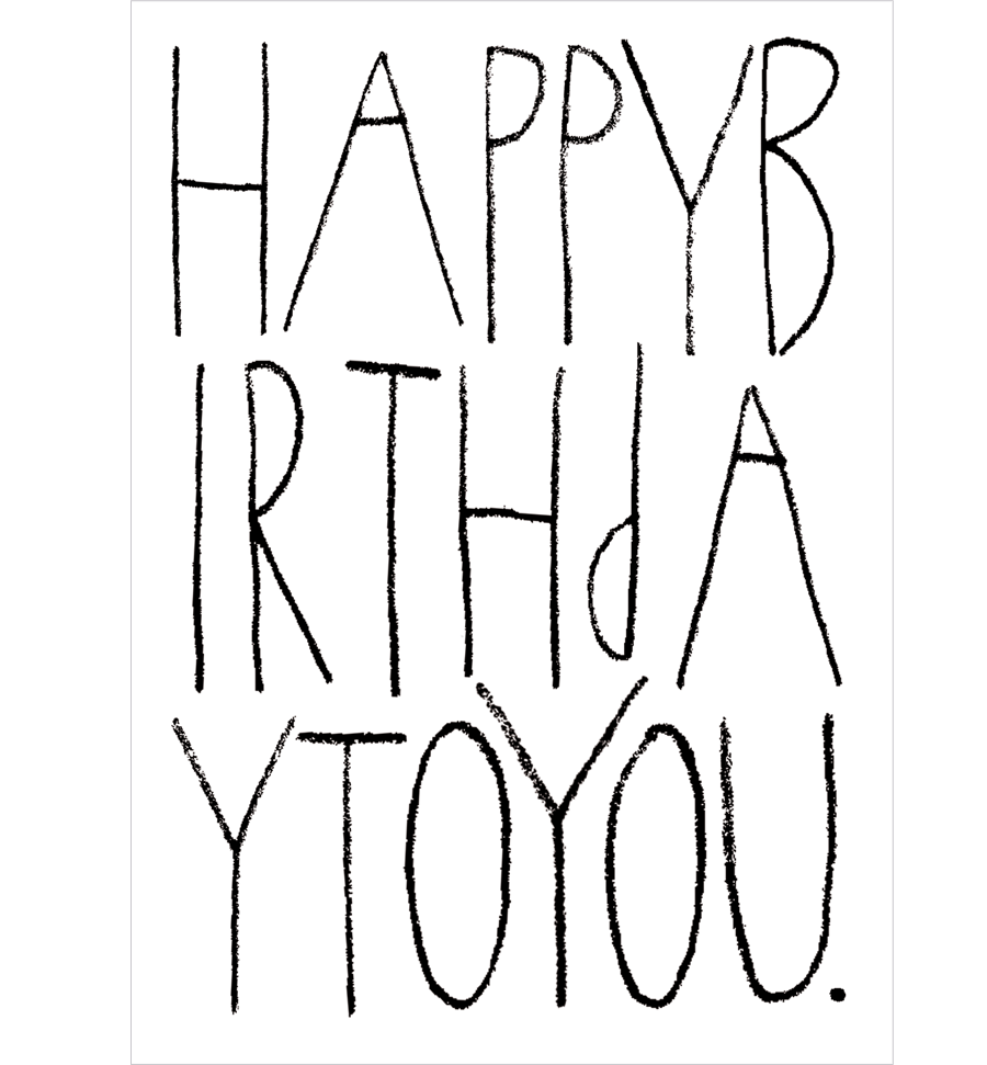 Happy Birthday Typo Postkarte (A6)
