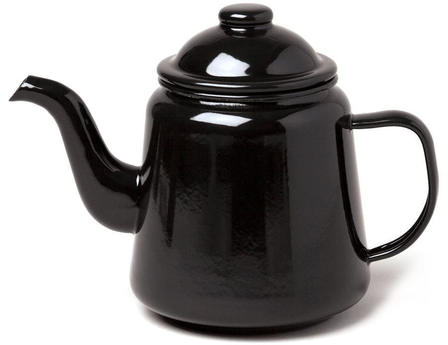 Emaille Teekanne Schwarz