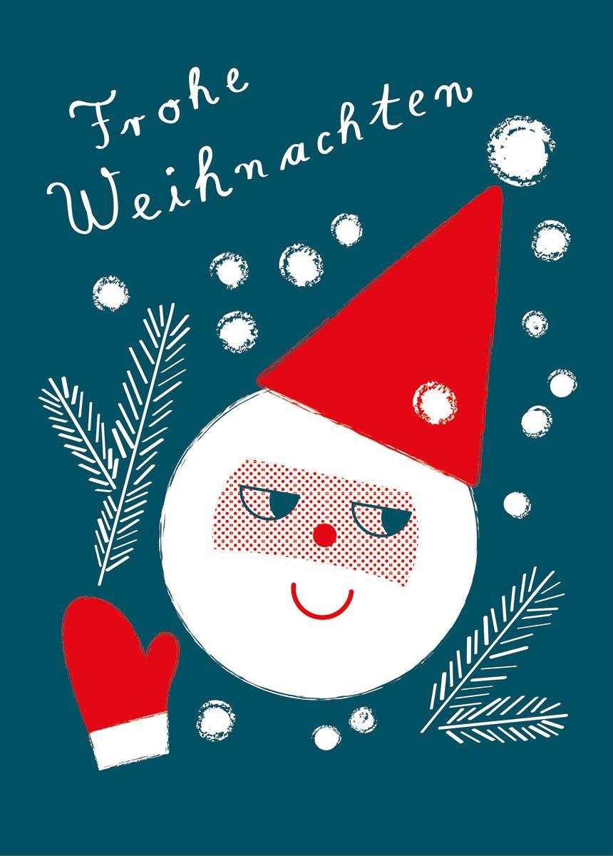 Weihnachtsmann & Zweige Postkarte