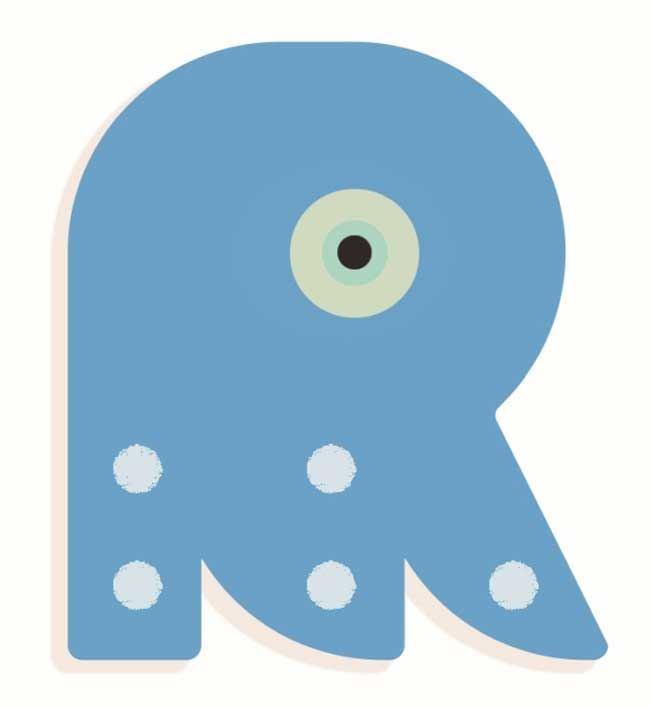 Tierbuchstabe R Blau