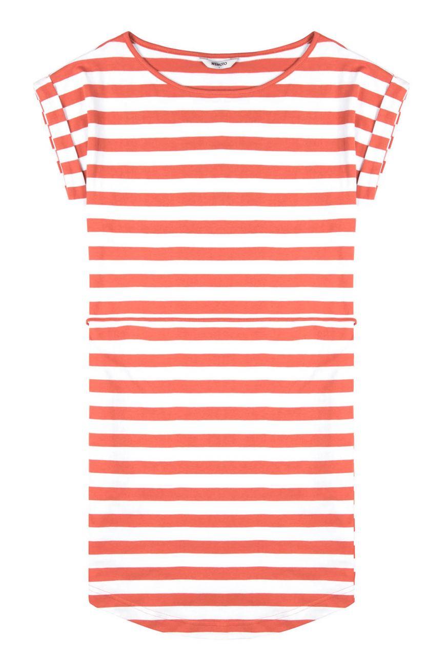 Kano Striped Kleid Emberglow White