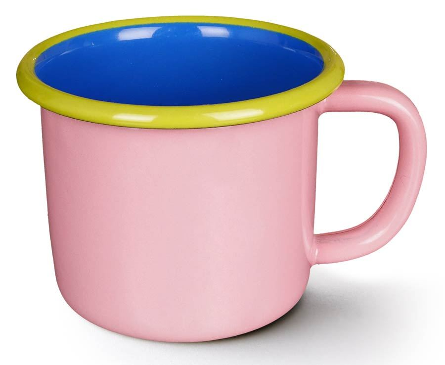 Colorama Mug Soft Pink and Electric Blue w/ Chartreuse Rim