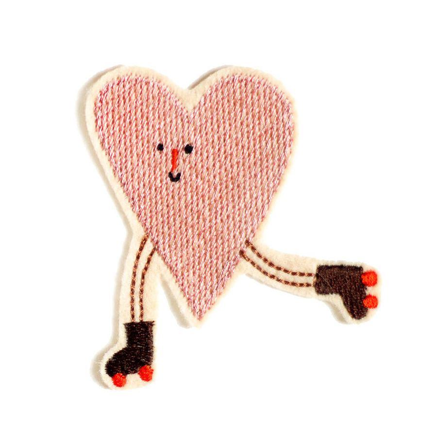 Aufnäher Rollschuh Herz rosa