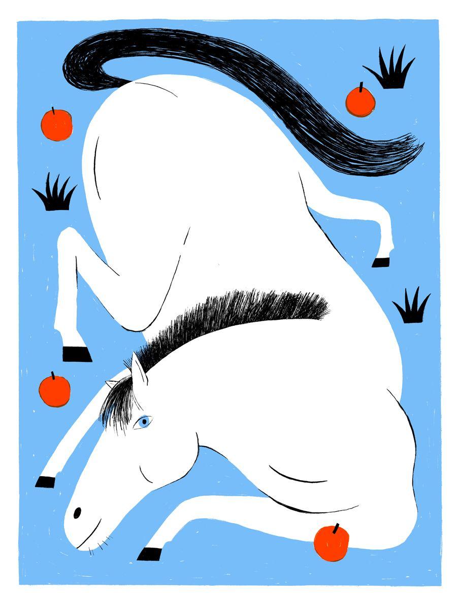 Das Pferd und die Äpfel Siebdruck
