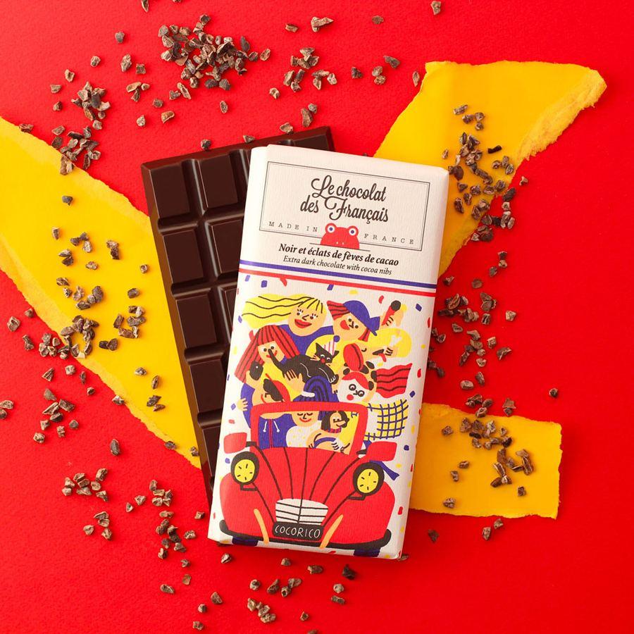 La 2CV Dunkle Schokolade mit Kakaobohnen-Nips