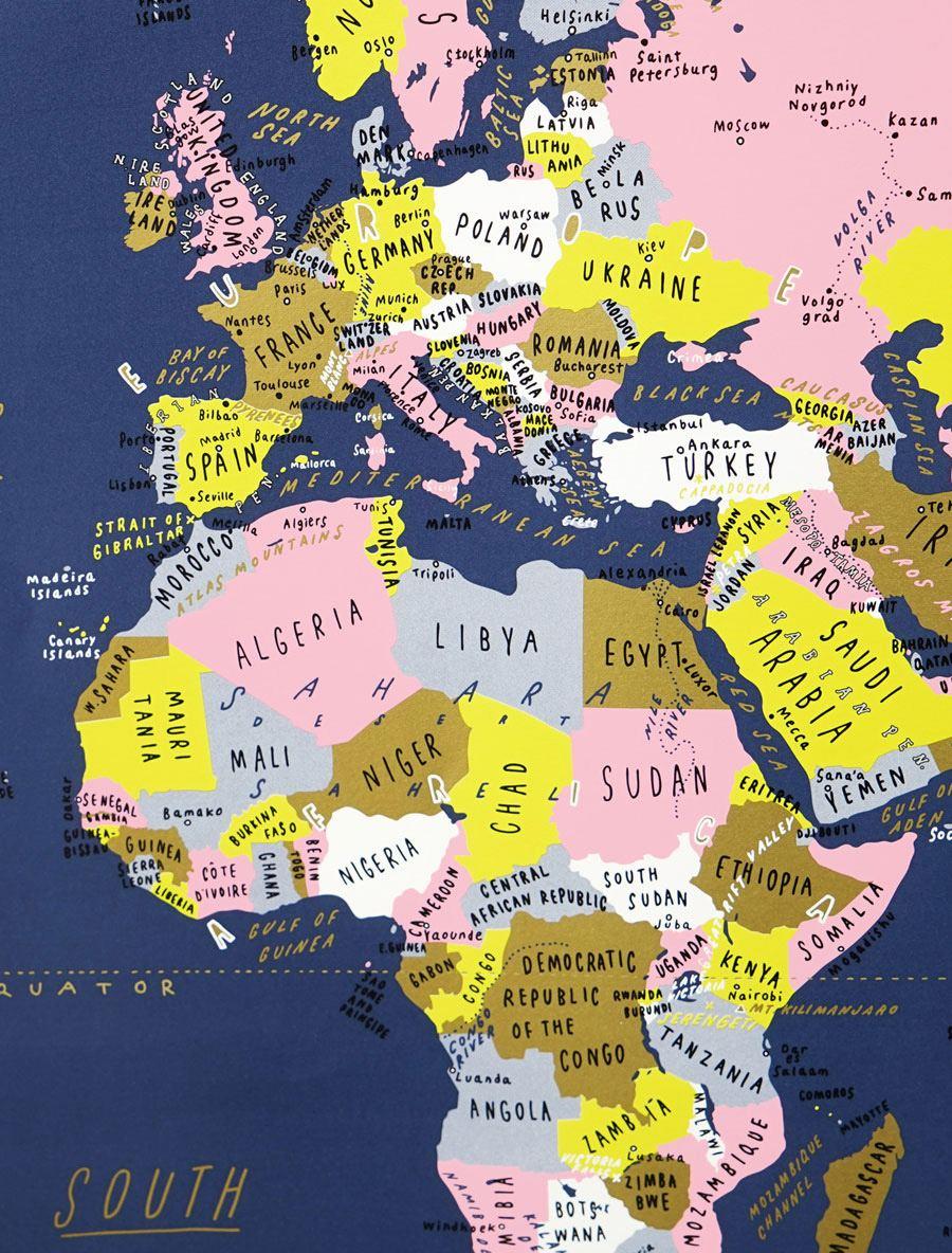 World Map Navy