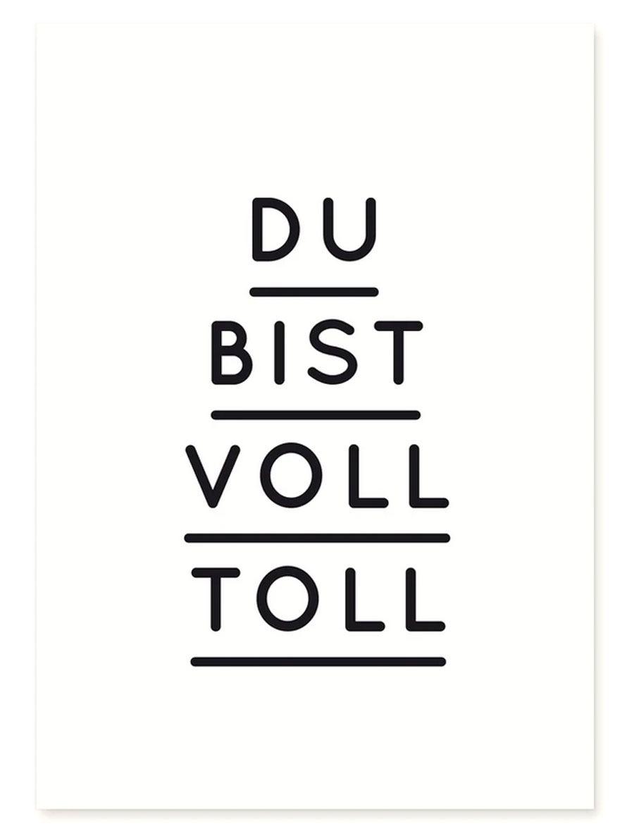 Du Bist Voll Toll Postkarte Schwarz