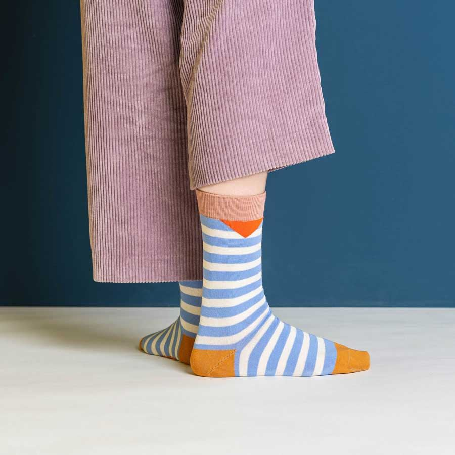 Friendly Socks Block Stripes Lilac