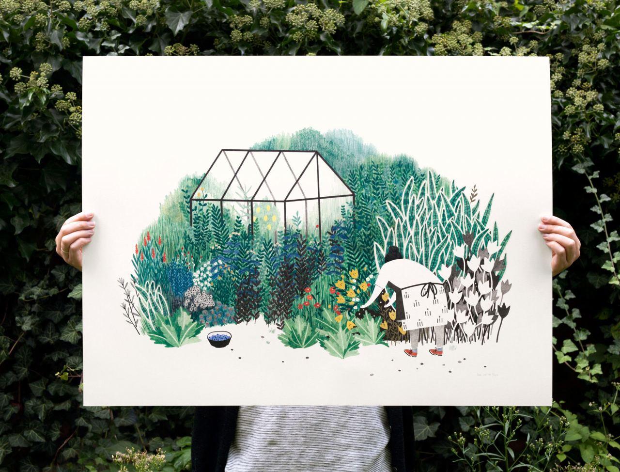 Bloemenstruik Print (60x80cm)