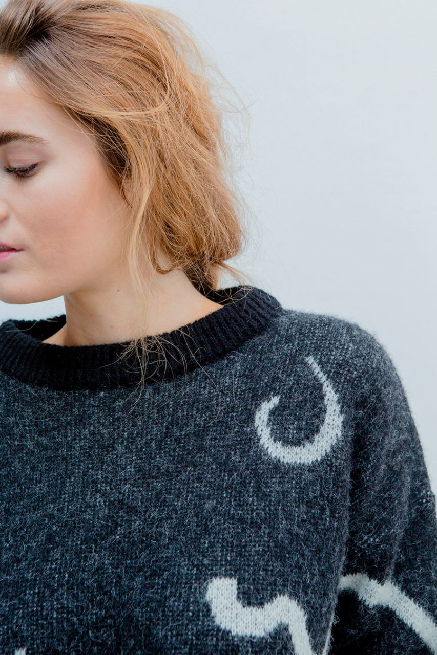 Loy Wollpullover Black White