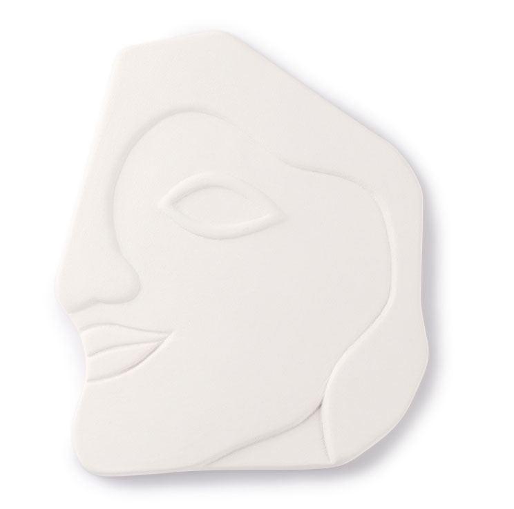 Face Wall Ornament L Matt White