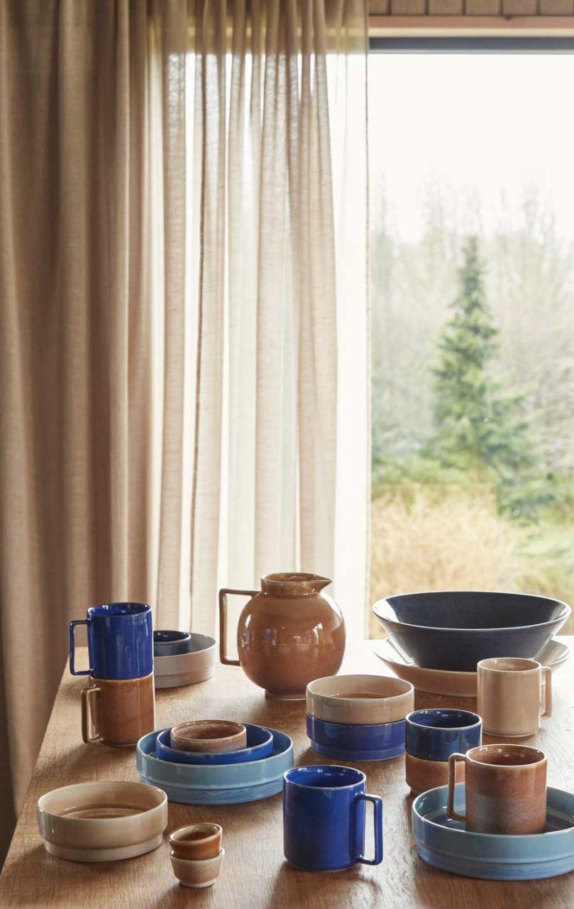 Becher Keramik Dunkelblau