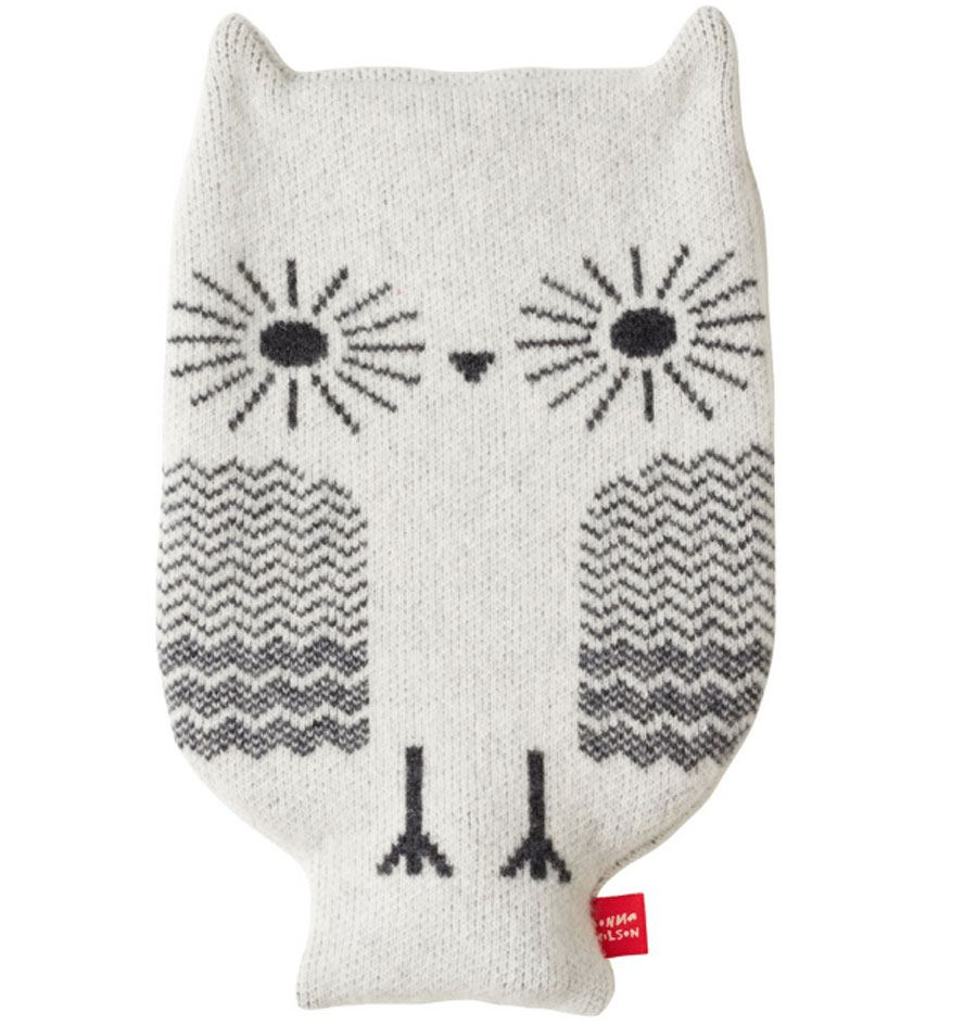 Owl White Wärmflasche
