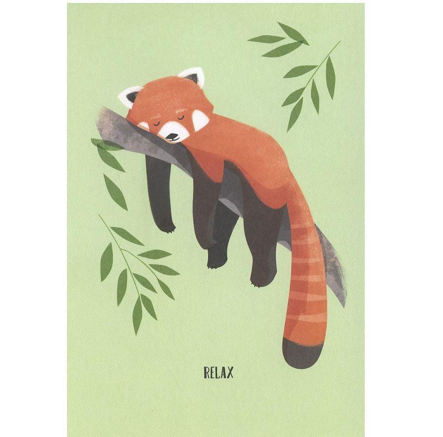 Relax Roter Panda Postkarte
