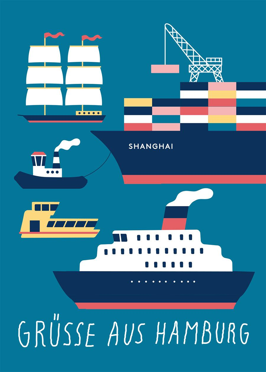 Hamburg Schiffe Grün Postkarte