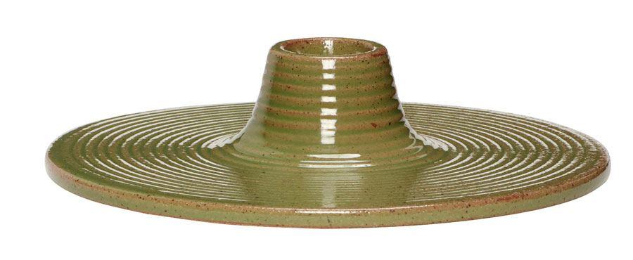Kerzenhalter Porzellan Grün Flach