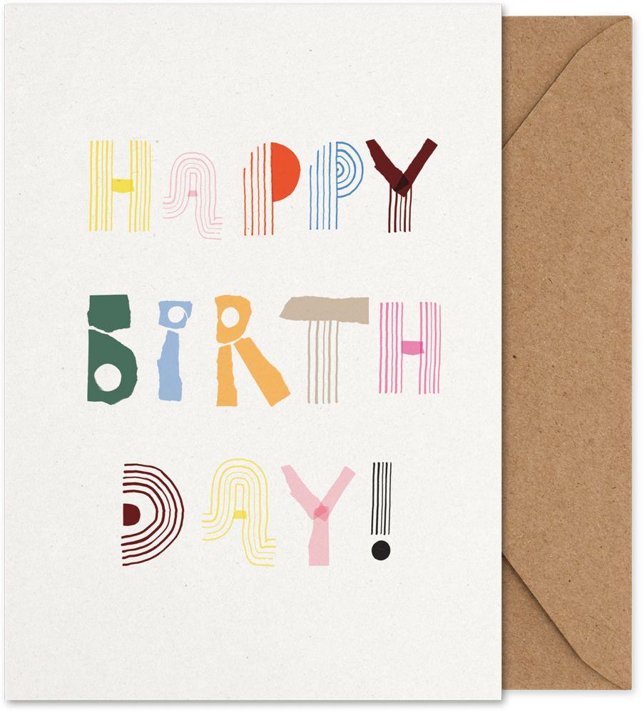 Happy Birthday Alphabet Spaghetti Klappkarte (Din A5)