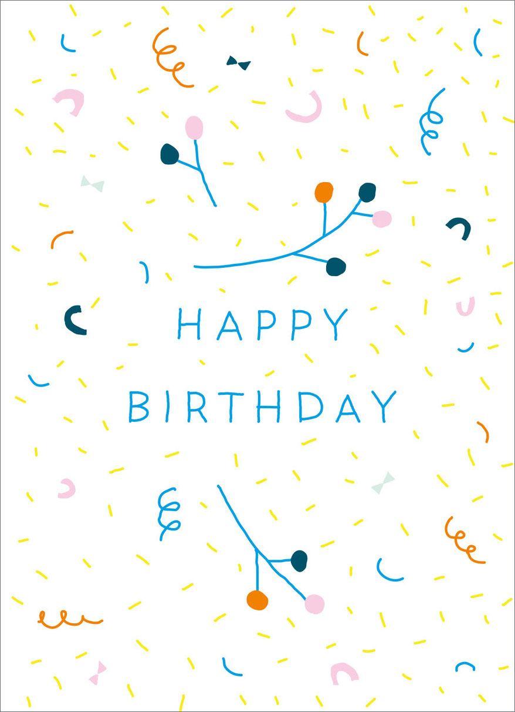Konfetti Birthday Postkarte