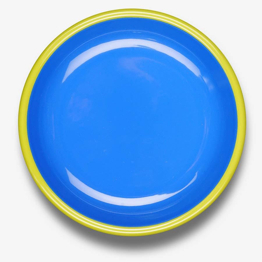 Colorama Plate Electric Blue w/ Chartreuse Rim